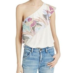 Free People Ivory Floral Ruffle One Shoulder Tank